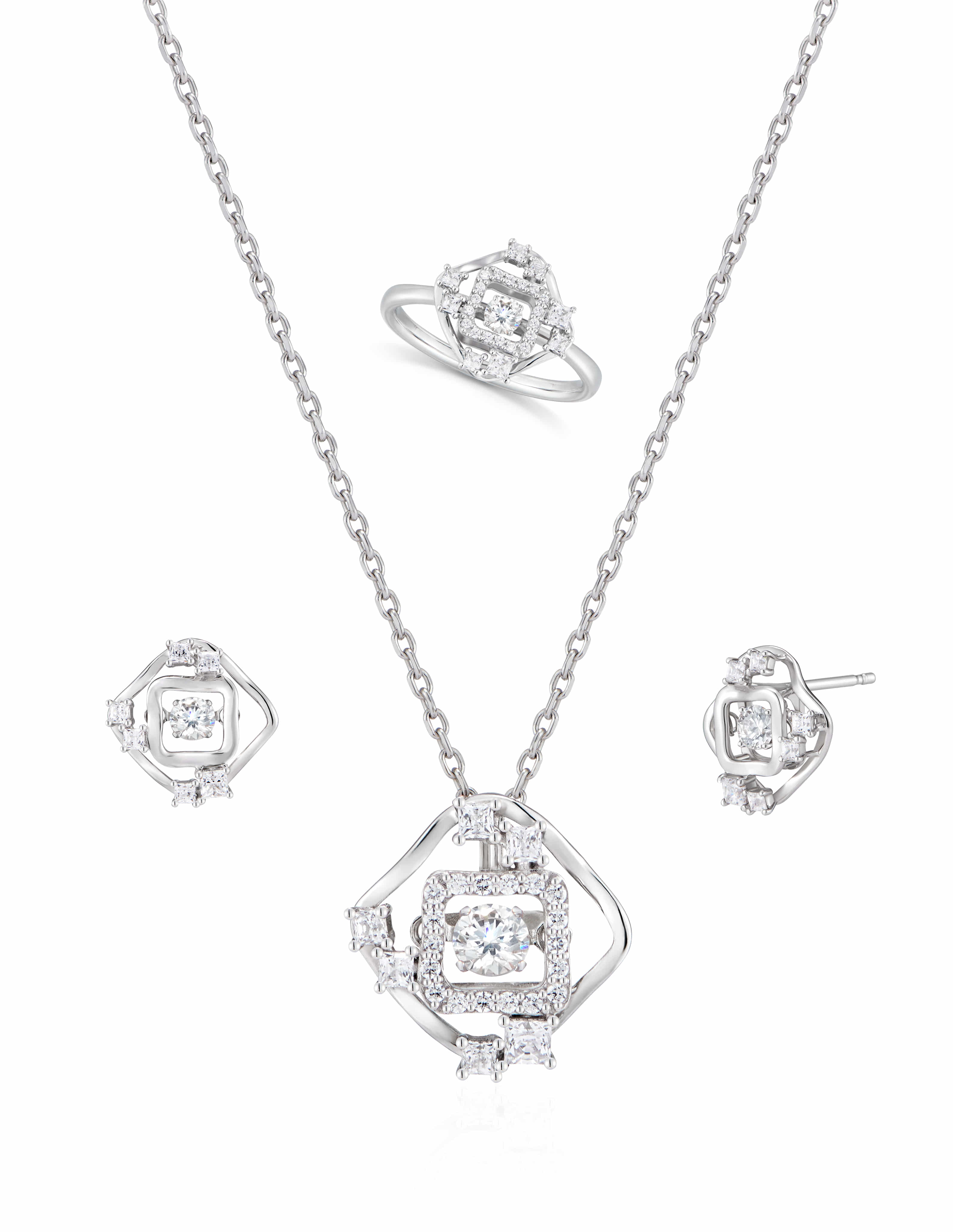 WATERS collection _ Square _ Necklace & Earring & Ring set